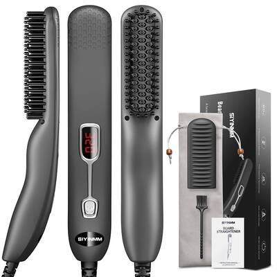 #4. SIYINMM Auto-Shutoff Anti-Scald Quick Heated Comb Mini-Sized Beard Straightener for Men