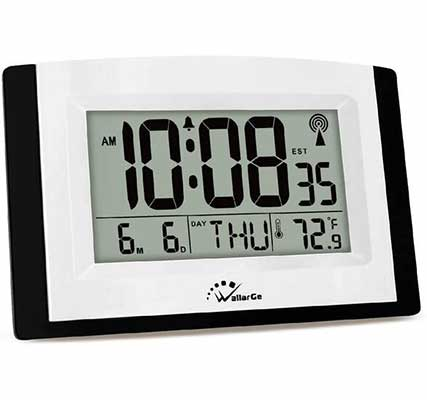 #1. WallarGe Battery Operated Self-Setting Desk Clock w/Temperature & Date for Office
