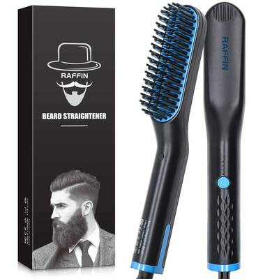 #8. RAFFIN Fast Heated Dual Voltage Portable Men's Anti-Scald Beard Straightening Brush for Travel