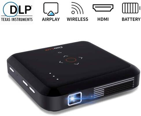 #10. Funcilit Portable DLP Video Projector, Rechargeable Pocket Mini Pico Projector
