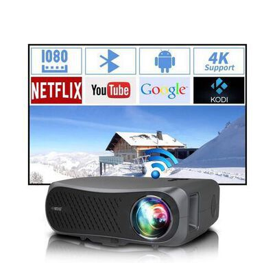 9. ZCGIOBN Business and Outdoor Home Theater Projector with 7200 Lumens and Remote