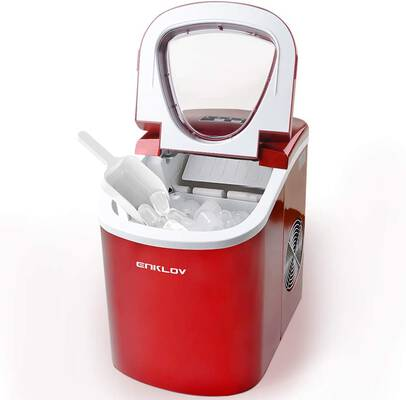 #3. UENKLOV Portable Countertop Electric Ice Maker Machine w/Ice Scoop & Cleaning Accessories (Red)