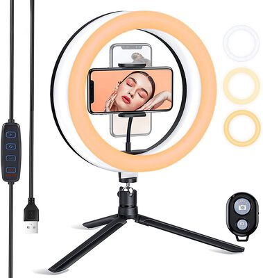 10. ESSDI 3 Color Temperatures Ring Light with Stand and Dimmable Brightness