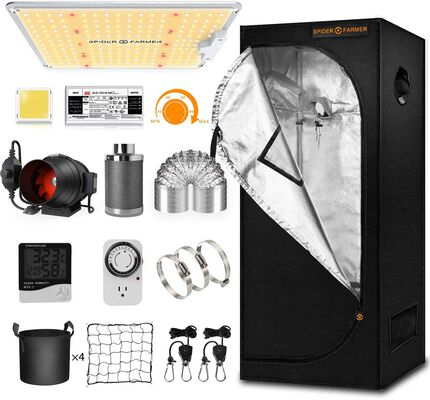 1. Spider Farmer Full Spectrum Dimmable Indoor Growing Tent with Ducting Clips