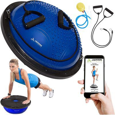 3. Jawinn Gym Workout or Home Gym Balance Half Ball Trainer with Resistance Bands