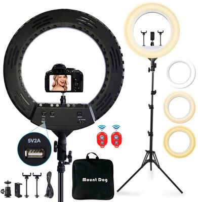 5. Mountdog Lightweight Ring Light with Stand and Three Phone Holders