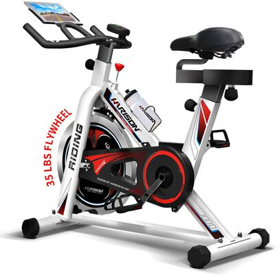 5. Harison 35lbs Flywheel Exercise Belt Driven Stationary Bike for Home and Gym