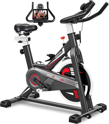 6. Yonkful Workout Cardio Indoor Adjustable Stationary Bike for Home with Seat Cushion