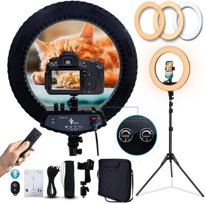 6. Gloue Photography and Video Shooting Ring Light with Stand and 120 LEDs