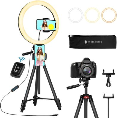 8. Tao Tronics Black Photographic Ring Light with Stand for Varied Illumination Angles