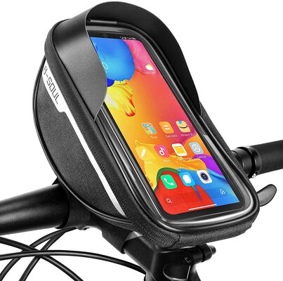 9. Boao Black Waterproof Polyester Touch Screen Bike Phone Holder Bag for Adult Bikes