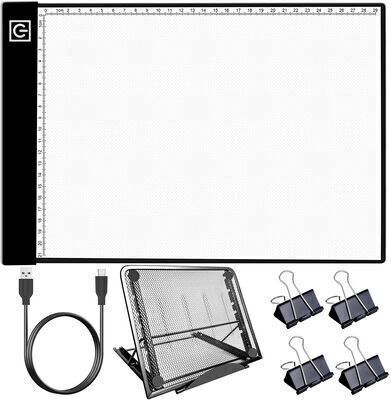 7. Hiraliy Clipped LED lights Light Pad for Tracing with a Metal Stand for Diamond Painting