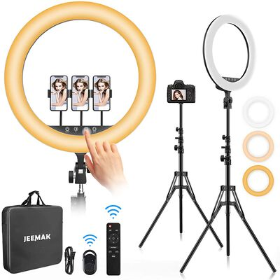 7. Jeemak Selfie Video Meeting Ring Light with Stand and Bluetooth Remote Control