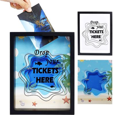 10. ATdawn Ticket Memory Wooden Shadow Box Frame with Strengthened Glass Cover