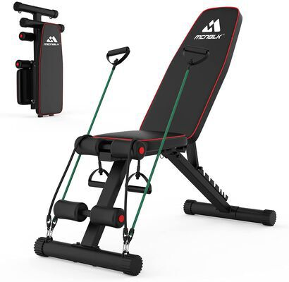 7. MCNBLK Adjustable Weight Bench with Elastic Ropes