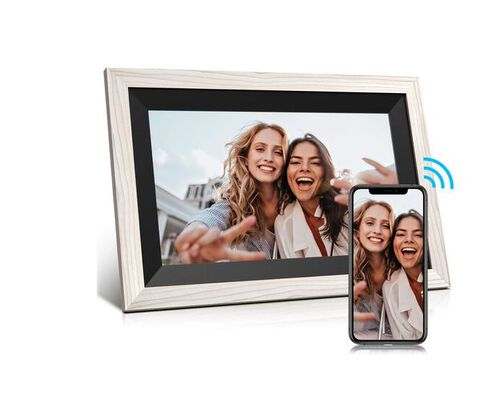 7. Jeemak Wooden Auto Rotate Digital Photo Frame with HD Touch Screen