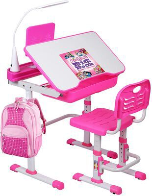 3. SMAGREHO Kids' Chair and Desk Set, Height-Adjustable (Pink)