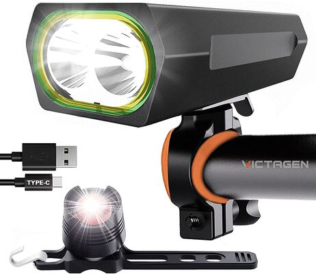 4. Victagen High Lumen Mountain Bicycle Headlight with Back Light for Night Reading