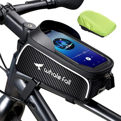 2. Whale Fall Bike Phone Holder Bag for 7 Inch Cellphones with Raincover