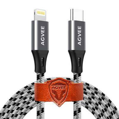 5. Agvee Lightweight CompactSeamless Braided Case Friendly USB C to Lightning Cable